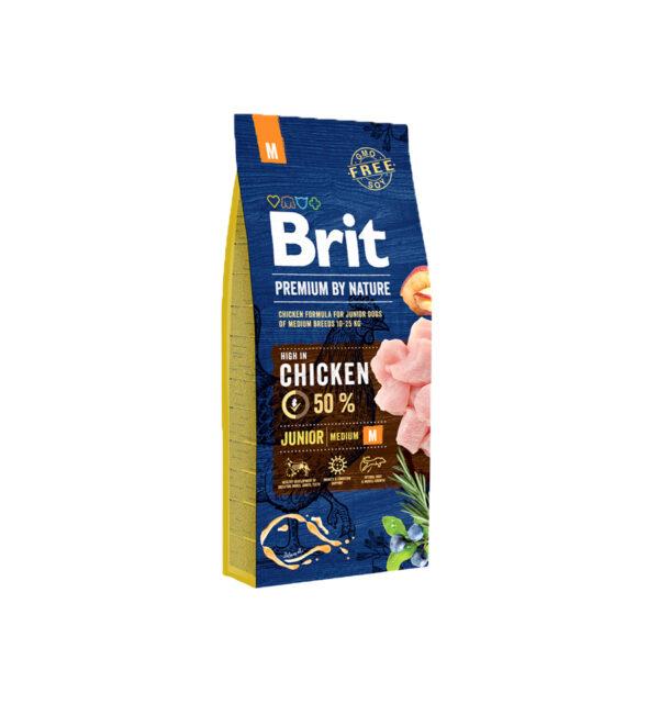Mancare uscata pentru caini, Brit Premium By Nature, Junior M, 15 Kg