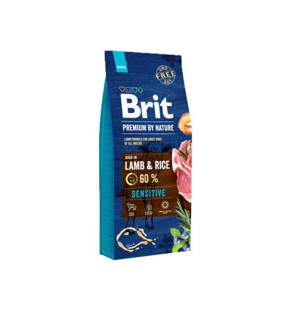 Mancare uscata pentru caini, Brit Premium By Nature, Sensitive, Miel, 15 Kg