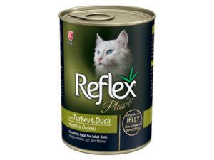 Hrana umeda pentru pisici Reflex Plus Cat, Curcan si Rata in jeleu, 400g